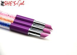 Wholesale Nail Pen Diamond - Wholesale-1PCS Brushes Nail Tools Nail Brush Acrylic Handle Rhinestone Diamond Nail UV Gel Salon Flat Brushes Nail Art Pen-ZW121