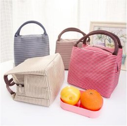 Wholesale Lunch Tote Wholesale - Waterproof Canvas Stripe Lunch Bag High Quality Fabric Lunch Tote For Women Kids Stripe Lunch Bag CCA6942 100pcs