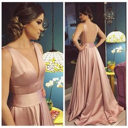 Wholesale Dess Red Evening - Sexy Deep V Neck Blush Pink Satin Long Prom Dresses Formal Occasion Evening Gown A-Line Backless Girls Party Dress Graduation Dess Cheap