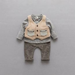 Wholesale Korean Kids Shirts - Korean Boys Kids Clothes stripe boy suit 3pcs set shirt+knitted waistcoat+trousers pants Children Outfit Baby Boy Clothing Boy Outfits A1220