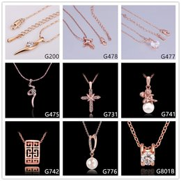 Wholesale Gemstone Pearl Necklace - Hot sale women's crystal gemstone rose gold pendant necklace GTMG1,cross pearl 18k gold necklace(with chain) 10 pieces a lot mixed style
