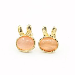 Wholesale Wholesale Products Korea - Aestheticism Moonlight Lovely Stone Rabbit Ear Nail Korea Popular A Cat's-eye Earrings Korean Product Alloy