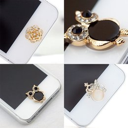 Wholesale Diamond Sticker Home - Wholesale-1 Pcs Cool 3D Silver Crown Diamond Crystal Home Button Sticker For iPhone 4 5 5s 6 Apple Ipad