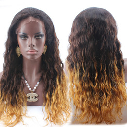 Wholesale Three Tone Lace Front Wigs - #1B #4 #27 Three Tone Ombre Brazilian Human Hair Lace Front Wig with Baby Hair for Black Women