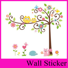 Wholesale Large Green Tree Wall Stickers - Fast shipping Owl squirrel tree Hoot Wall decals Removable stickers decor art kids nursery room wholesale