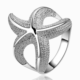 Wholesale 925 Sterling Silver Starfish - Elegant Popular 925 Sterling Silver Starfish Band Ring New Design Finger Ring Fashion Jewelry Party Gift(Size 7-8) Copper + Silver Plated