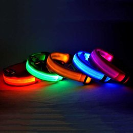Wholesale Pet Collar Material - Fashionable LED Collars Pet Products Electric Lighting Dog Collar Leash Fancy Nylon Material Waterproof 2.5cm Width