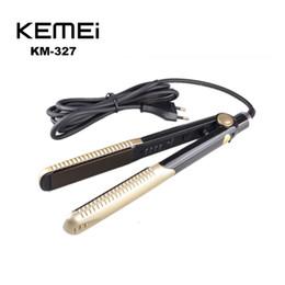 Wholesale Tourmaline Ceramic Flat Iron - 100% Original KEIMEI KM-327 KM327 Hair Straightener Curler Irons Ceramic Ionic Tourmaline Flat Iron Hair Straightener With box(0604066)
