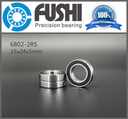 Wholesale rs 15 - 6802-2RS Bearing ABEC-1 (10PCS) 15x24x5 mm Thin Section 6802RS Ball Bearings 6802 2RS 61802 RS 15*24*5 MM