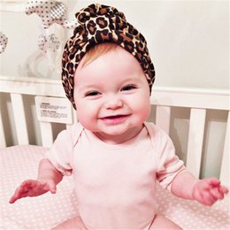 Wholesale Leopard Kid Hat - 2016 new fashion leopard print turban kids girls cotton hat Winter Autumn Baby Hat baby cap Indian Caps