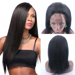 Wholesale Yaki Lace Front Wig Short - 14inch #1 Jet Black 150% Density Brazilian Yaki Lace Front Wig Short Bob Yaki Hair Wig Glueless Lace front Wigs For Black Women