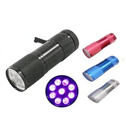 Wholesale White Flashlight Aluminum - Hot sale Aluminum Alloy Portable UV Flashlight Violet Light 9 LED 30LM Torch Light Lamp Mini Flashlight 4 Color 2503029