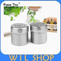Wholesale Salt Jars Bottle - Free Shiping 50pcs Fashion home kitchen supplies multifunctional stainless steel jar container seasoning can salt storage bottle