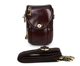 Wholesale Mobile Phone Chocolate - Wholesale-7297Q Classic Chocolate Mens Vintage Genuine Leather Single Messenger Bag Waist Bag Mobile Phone Cover Case