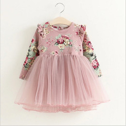 Wholesale Dress Baby Girl Hot Pink - 2018 New Hot Sale Girls Long Sleeve Flower Printed Dress Autumn Spring Kids Lace Gauze Dresses Baby Girl Tutu Skirts Children Dress 90-130