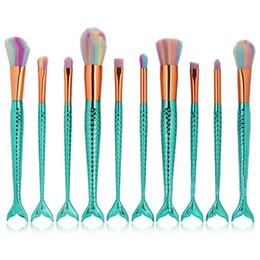 2019 set de maquillaje de arco iris 10 unids / lote Sirena Cepillo Pinceles de Maquillaje Arco Iris Set Cream Face Power Kits de Cepillos Belleza Multiusos Kits de Pinceles Cosméticos Arcoiris set de maquillaje de arco iris baratos