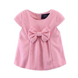 Wholesale Paris Kids - Christmas gifts Dress for baby girl Autumn winter kids clothes Bow cute girls woolen dress short sleeve Navy red pink Dress European Paris
