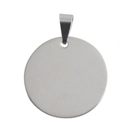 Wholesale Silver Circle Blank Pendant - Stainless Steel Silver Engravable Clasp 30.9MM Round Pendant Blank Disc Pendants For Necklace & Pendants Men Jewelry