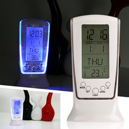 Wholesale calendars music - Multifunction Electronic LED Luminous Alarm Clock with Music Temperature Display Timer Birthday Reminder Home Decoration