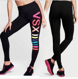 Wholesale Girls Summer Leggings - Women VS Love Pink Gym Yoga Leggings Tights Victoria's Girls Sports Running Pants Secret Absorbent Quick-dry Leggings Clothes Plus Size