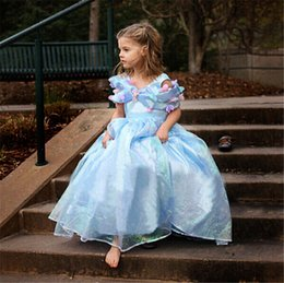 Wholesale Exclusive Girls Dresses - Wholesale-Cinderella Exclusive Custom Cosplay Costume For baby girls (2-8 years)Blue Deluxe Cinderella Dress free shipping