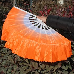 Wholesale Chinese Fans Color - Chinese gradient color dance fan Handmade folding fan Dance costume accessory 6 colors available Drop shipping Hot sale