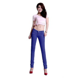 Wholesale Candy Colored Jeans - New Korean Female Feet Pants Candy Colored Pencil Pants Female Feet Pants Colored Trousers Female Jeans Child