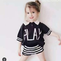 Wholesale Childrens Sweaters Knitted - 2017 Toddler Babys Polo Shirts Boys Girls Short sleeve Knit Sweater Kids Letter Printed Striped Summer Tops T Shirts Childrens clothing Cot