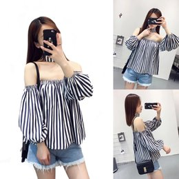 Wholesale Lantern Shoulder - Hot Selling Blouse for Women Sexy Off the Shoulder Fashion T Shirts with Long Sleeved Strapless Casual Shirt LX3506