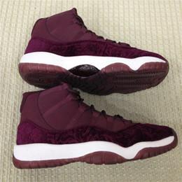 Wholesale Fiber Sports - Top Best Air Retro 11 XI Velvet Heiress Womens Basketball Shoes Real Carbon Fiber High 852625-650 Sneakers Retros 11s Athletics Sport Shoes