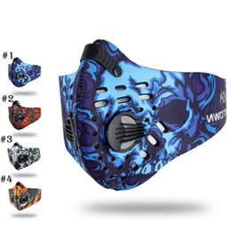 Wholesale Face Mask Filters - Unisex Sports Cycling Breathable Carbon Filters Face Mask Bicycle Dust Smog Protective Half Face Neoprene Mask PM2.5 YYA780