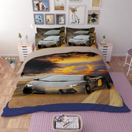 Patrón de edredón de lino online-3D juego de cama sábana impresión reactiva roadster patrón Textiles para el hogar fundas de edredón ropa de cama fundas de almohada al por mayor