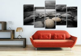 Wholesale Picture Pebbles - 5 Panel HD Printed Beach pebbles reef Painting Canvas Print room decor print poster picture feng shui wall art