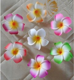 "Wholesale Romance Flowers - 2"" (5Cm ) Hawaii Pe Plumeria Flower Tropical Frangipani Foam Flower For Headwear 100Pcs Lot For Wedding Party Decoration Romance"