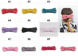 Wholesale Orange Hair Weave - Polka Dot Baby hairbands for hair New Fashion Dot girls hair bows Cotton Weave Hemp flowers Children headbands hair accessories H187