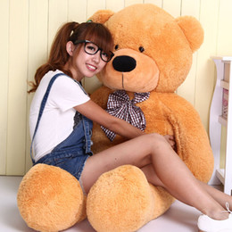Wholesale Kids Giant Teddy Bears Toys - Wholesale-100cm Giant Teddy Bear Plush Toys Stuffed Teddy Cheap Pirce Gifts for Kids Girlfriends Christmas Gifts