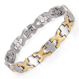Wholesale Negative Ions Bracelets - Healing Magnetic Bracelet Men Woman 316L Stainless Steel Germanium 4 in 1 Health Bracelet Gold Hand Chain FIR, Negative Ion OSB-055SG