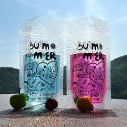 Wholesale Plastic Pouch Designs - 100pcs lot 450ml Cute Design Stand Up Plastic Drink Packaging Bag Pouch for Beverage Water Juice Milk Coffee,