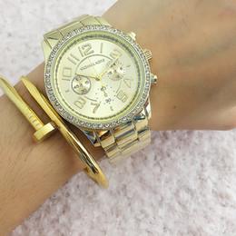 Wholesale Women Watches Gold Silver - New Design Feminino Women Luxury Brand Fashion MK Watch Gold Steel Ladies Wristwatches Famous Clock Female