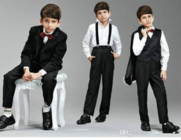 Wholesale Images Shirts For Boys - Free Shipping Boys Suits For Weddings Size 2-14 Black Boy Suits Formal Party Bow Tie, Pants, Vest, Shirt, Suit