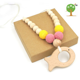 Wholesale organic teething necklace - Mommy Organic Teething bead necklace , Mint color yellow peach pink beech Cute fish wooden charm toy baby teether gift EN34