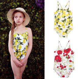 Wholesale Bikinis Designer - Wl Monsoon Girls Swimwear Bikini 2016 Summer One Piece Kids Swimsuit Lemon Print Swimsuit Designer Kids Swimwear Girls Bathing Suits