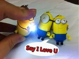 Wholesale Despicable Talking - 2PCS lot Despicable me 2 LED Keychain talking minions press button say I love you gift for lovers Light-Up Toys