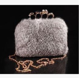 Borse europee di pelliccia online-2017 personalità della moda europea high-end atmosfera inverno pelliccia mano borsa di pelliccia grigia sera cena anello spedizione gratuita