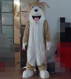 Wholesale Dogs Wearing Cute Costumes - SM0423 a cute light brown puppy dog mascot costume open the mouth for adult to wear