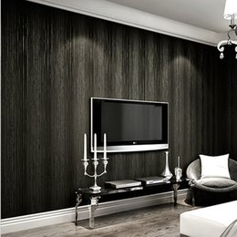 Wholesale Wall Wood 3d Decor - 10M Luxury Modern wallpaper Simple Style 3D Non-woven Wall paper Black Beige Wallpaper for Home Decor TV Background Wall Tape