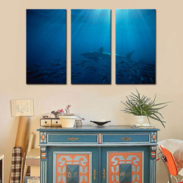 Wholesale Great Wall Decor - 3 Picture Combination Wall Art Painting Great White Shark In Australia Blue Sea Prints On Canvas Picture Animal For Home Decor