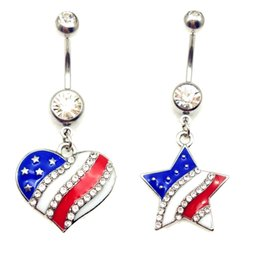 Wholesale Rhinestone Heart Dangle Charms - 10piece 316L Stainless Steel American star heart charm Flag Belly Ring Dangle Body Piercing Jewelry Navel Belly Button Rings body jewelry