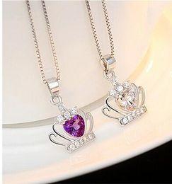 Wholesale Crown Pendant Necklace Wholesale - Beauty Crown Pendant Necklace 925 Sterling Silver Jewelry Austrian Crystal Crown Wedding Pendant Jewelry NO CHAIN