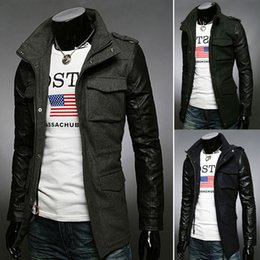 Wholesale Korean Leather Trench Coat - New Influx of goods fashion fight leather sleeve Slim Korean men's Outerwear Trench Coats Coats 757